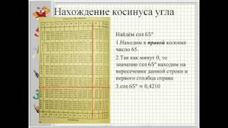 презентация Нахождение значений тригонометрических функций с помощью таблиц Брадиса