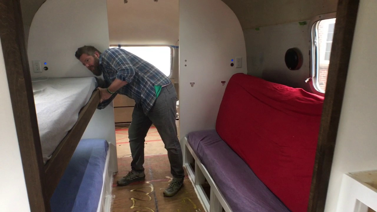 Airstream Renovation Progres Update Custom Bunk Beds That Turn Into Couches Youtube