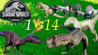 1 Индораптор против 14 Хищников Jurassic World Evolution