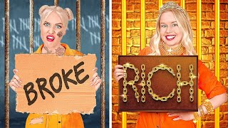 RICH JAIL VS BROKE JAIL || Funny Food Situations & DIY Ideas by 123 GO! FOOD