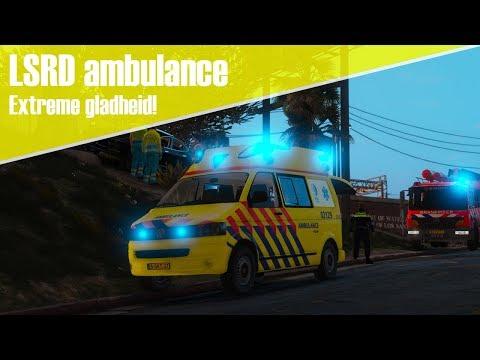 GTA 5 LSRD ambulance - Extreme gladheid! we komen de heuvel niet op!