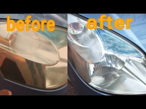 Easy way to clean car headlights