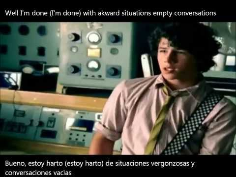 SOS-Jonas Brothers Lyrics spanish/english on screen with official video