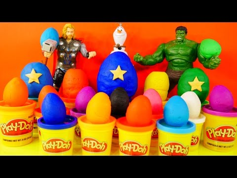 18 Play Doh Eggs Surprise Toys Cars Spongebob Spiderman Angry Birds The Simpsons
