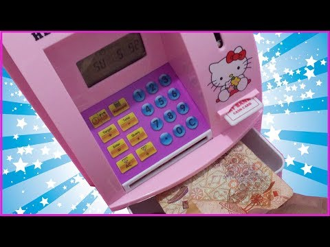 ATM TOY MACHINE and COIN BANK for KIDS REVIEW HELLO KITTY LIGHTS TALKING