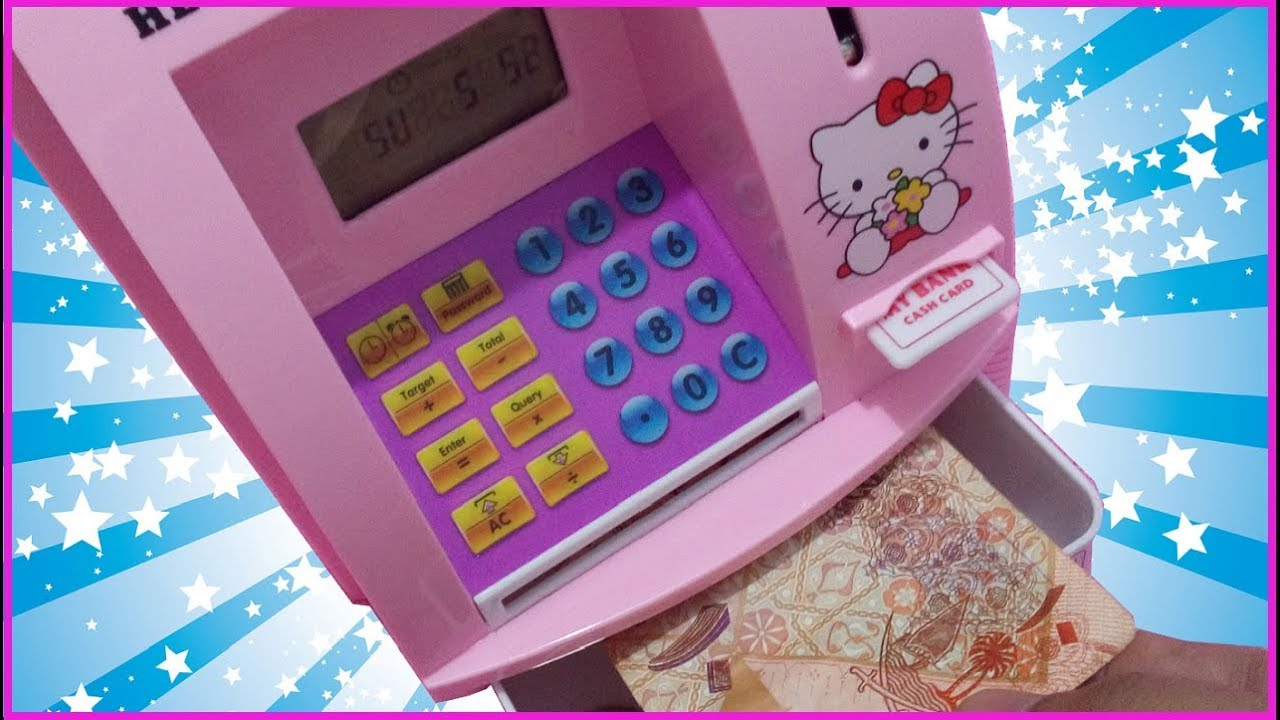 335273788 ATM TOY MACHINE and COIN BANK for KIDS REVIEW HELLO KITTY LIGHTS TALKING