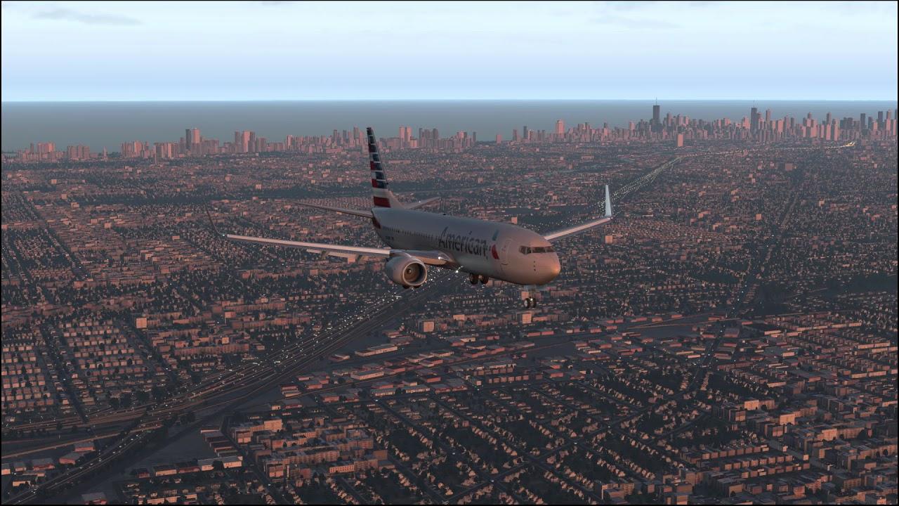 X-Plane 11  Boeing 737-800 landing in Chicago O'Hare  Zibo MOD