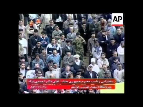 Iranian President gives speech at football stadium in nuclear plant town