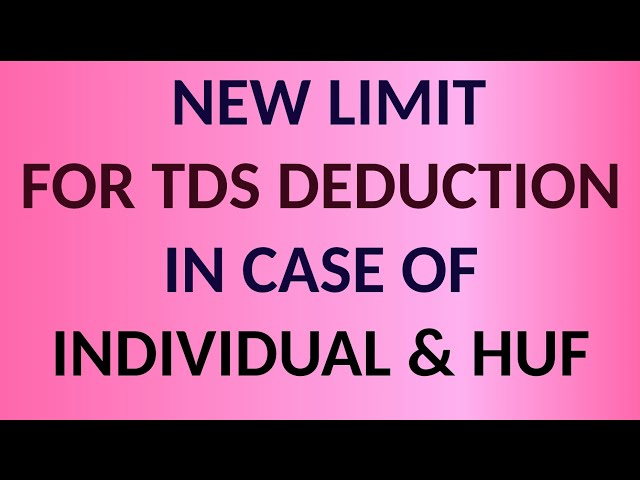 NEW LIMIT FOR TDS DEDUCTION FOR SMALL BUSINESS MANS II BUDGET 2020 II CA MANOJ GUPTA II
