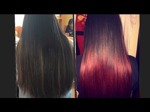 BLACK HAIR TO RED OMBRE HAIR!