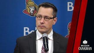 Sens Head Coach Guy Boucher speaks to the media following tonight's...