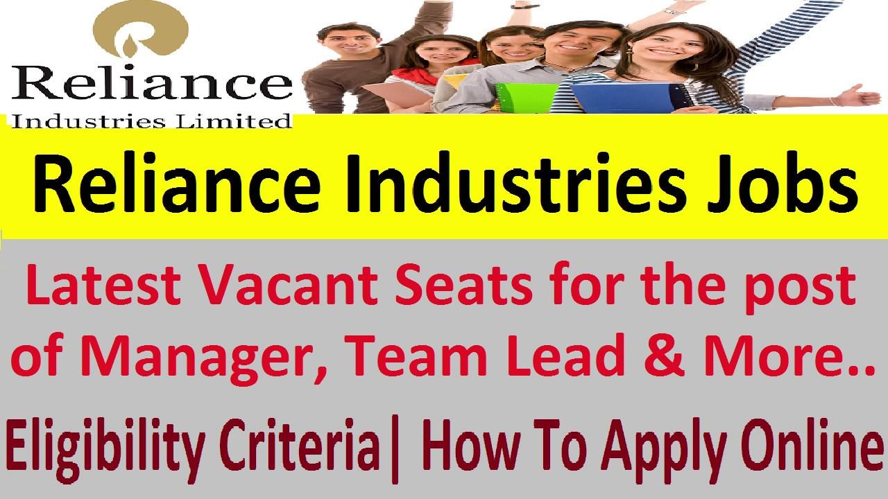 Reliance Industries Jobs 2019-20 Apply Online RIL Vacancies