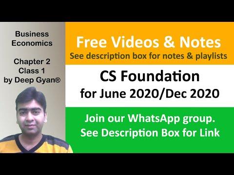 CS Foundation Economics Classes - Chapter 2 - Demand and Supply - Class 1 for June 2018/Dec 2018