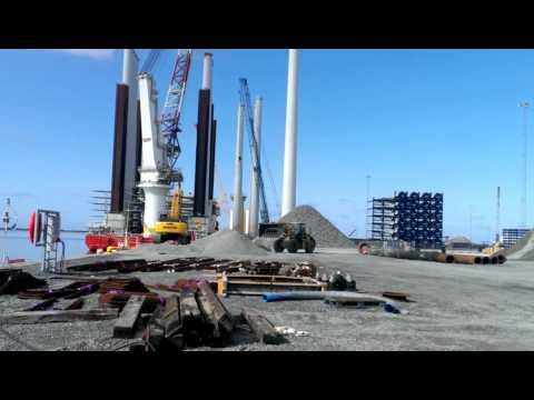 Offshore construction jackup at port of Esbjerg