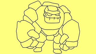 Drawing tutorial - How to draw Clash of Clans characters Golem troops slow