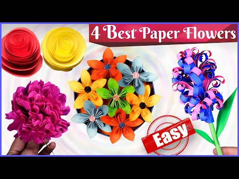 Simple paper flowers - Adorable and easy wall and room decoration ideas - DIY flowers Making ideas