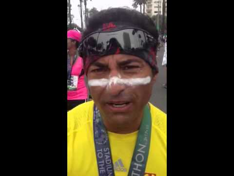 The finish of LA Marathon 2013 in Santa Monica.