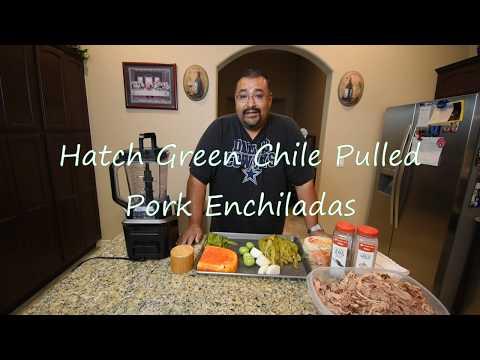 Hatch Green Chile Pulled Pork Enchiladas