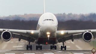 Turbulent CROSSWIND Landings at Düsseldorf - Airbus A330, A380, Boeing 757, Boeing 737 ...
