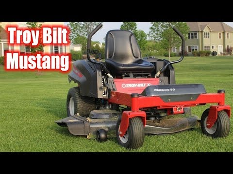 more troy-bilt xp mustang cutting grass !! - youtube