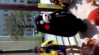 3/19 福岡郵便局前にて、くまモン体操