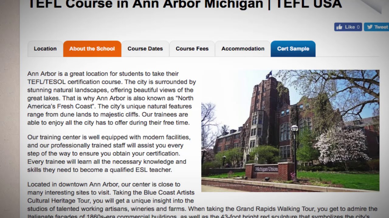 Welcome To Our Tefl Tesol School In Ann Arbor Usa Teach Live