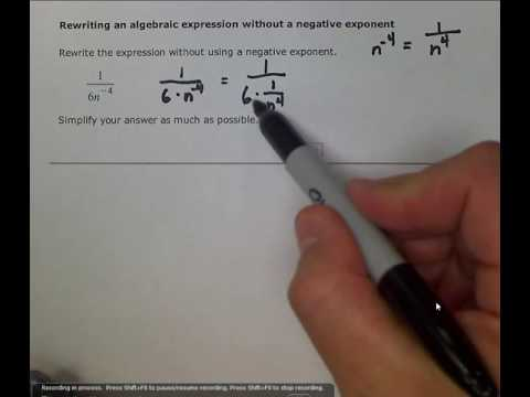 rewriting an algebraic expression without a negative exponent calculator