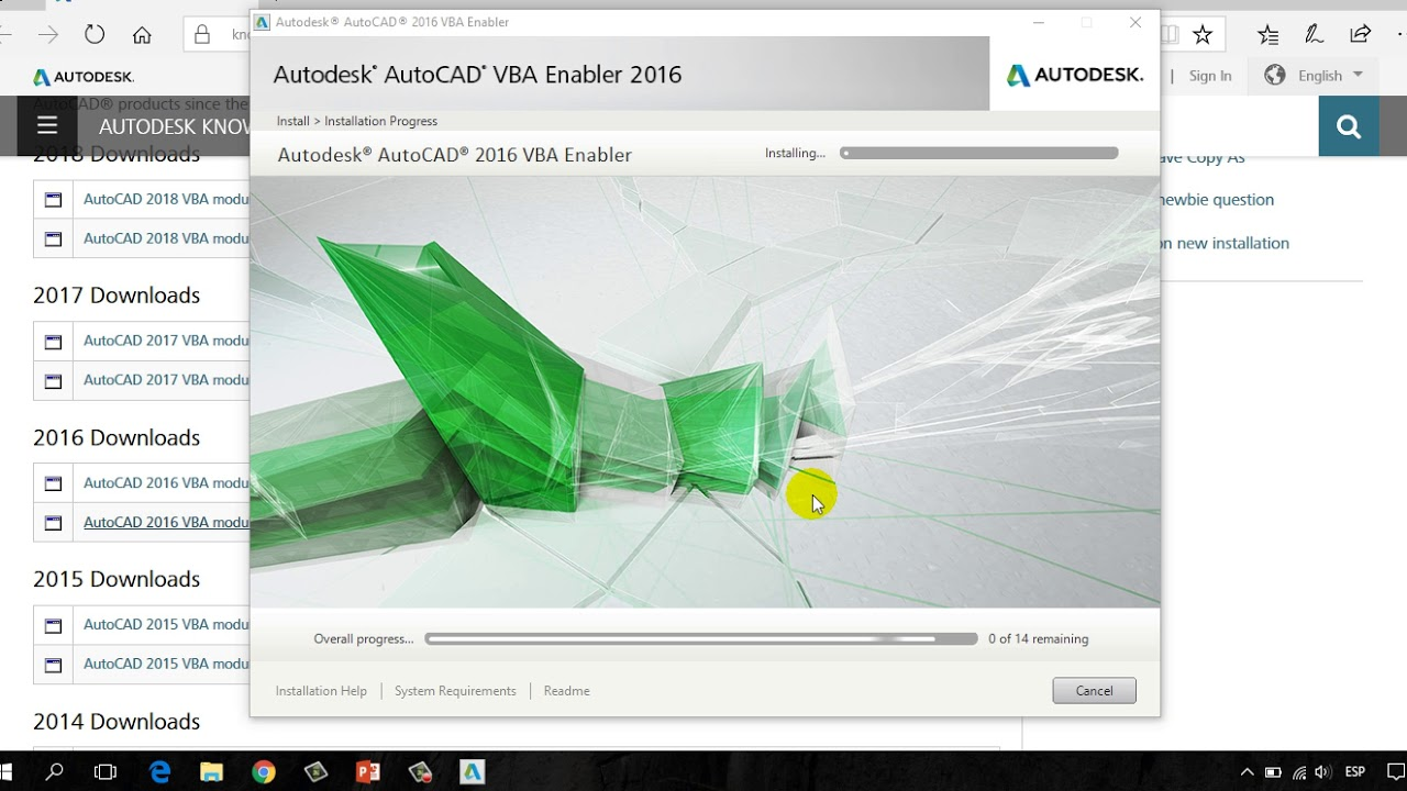 Download and Installation of VBA for AutoCAD 2016