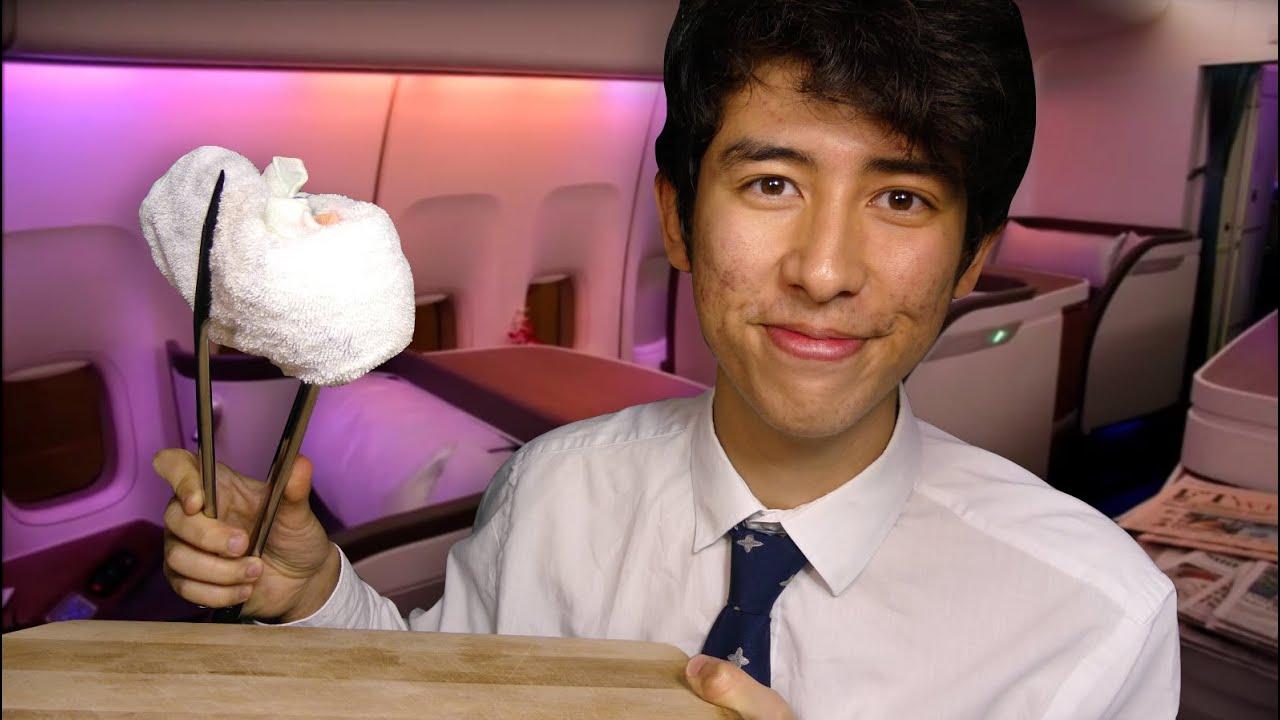 ASMR first class flight attendant
