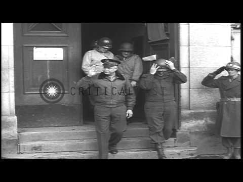 US Army General Dwight D Eisenhower inspects troops and meets officers on the war...HD Stock Footage