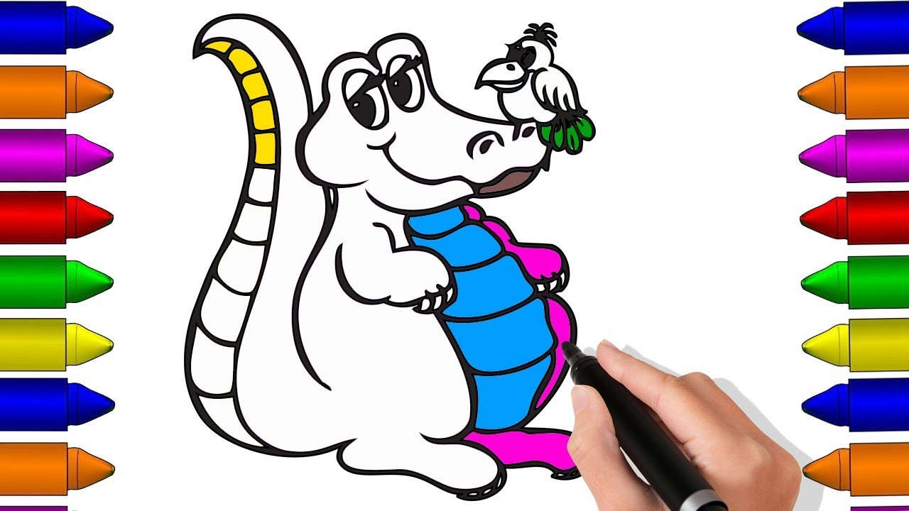 Drawing And Coloring Baby Crocodile For Kids Crocodile Coloring