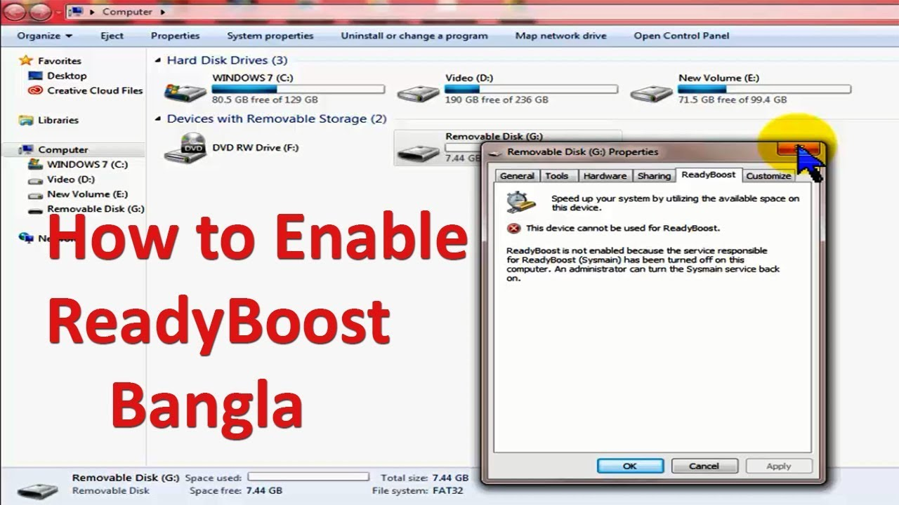 How to Enable ReadyBoost in Window 7,8,10   Bangla Tutorial   Ready