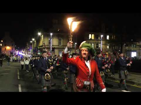 2018 Perth Riverside Light Nights illuminations Parade from City centre over the river Tay, Scotland