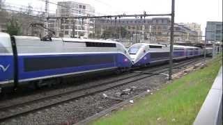 4 trains qui klaxonnent+1 TGV Lyria POS 4417+8 trains ter+7 trains TGV à Lyon le 05/04/13