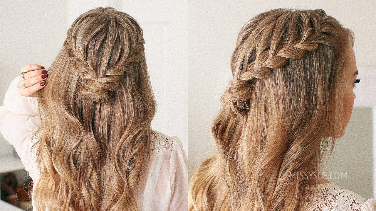 Half Up Lace Braid Mini Bun Missy Sue Youtube With Images Half Up Hair Half Up Half Down Hair Prom Hair Styles