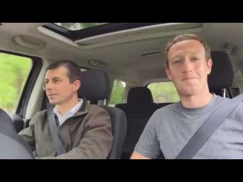 Mark zuckeberg Driving around South Bend, Indiana with Mayor Pete Buttigieg, one of America's younge