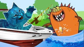 Поймал Огромного МОНСТРА #4 КОТЕНОК РЫБОЛОВ симулятор кошачьей рыбалки детский летсплей