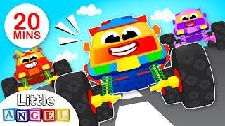 monster Trucks & Rescue Trucks | Policemen vs Firemen | Kids Songs & Nursery Rhymes by Little Angel