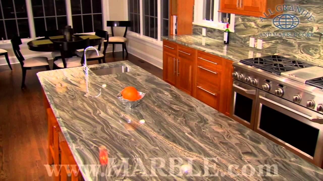 Iguana Green Granite Kitchen Countertops by Marble.com - YouTube