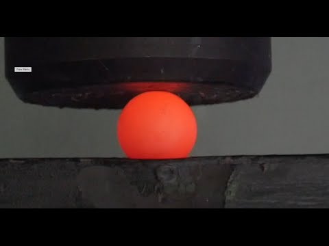 Crushing Red Hot Steel Ball (RHSB) with Big Hydraulic Press!!