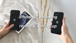 BLACK iPHONE 12 UNBOXING & REVIEW (128GB)   first impressions, accessories haul, iOS 14 setup!