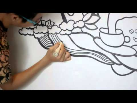 [15s] Doodle Wall Art at Hangout Coffee Medan, Indonesia | DWSkellington