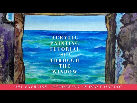 How to rework an old painting – Acrylic painting tutorial and Exercise and Seascape painting idea