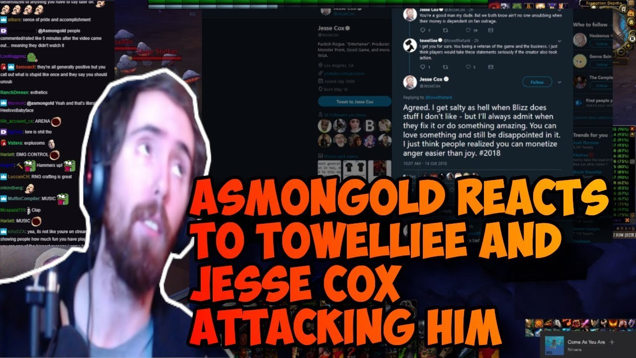 Asmongold reacts to being attacked by Towelliee and Jesse