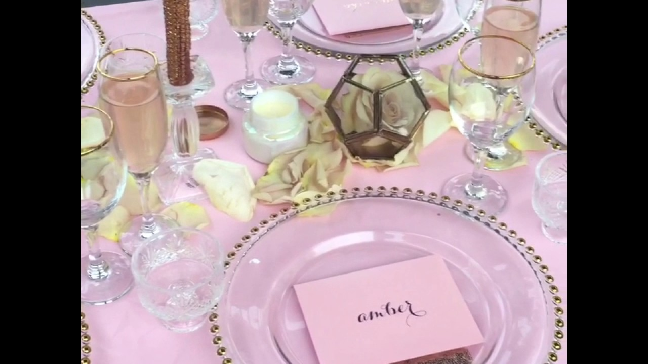 Blush and Gold Wedding Table Setting - YouTube