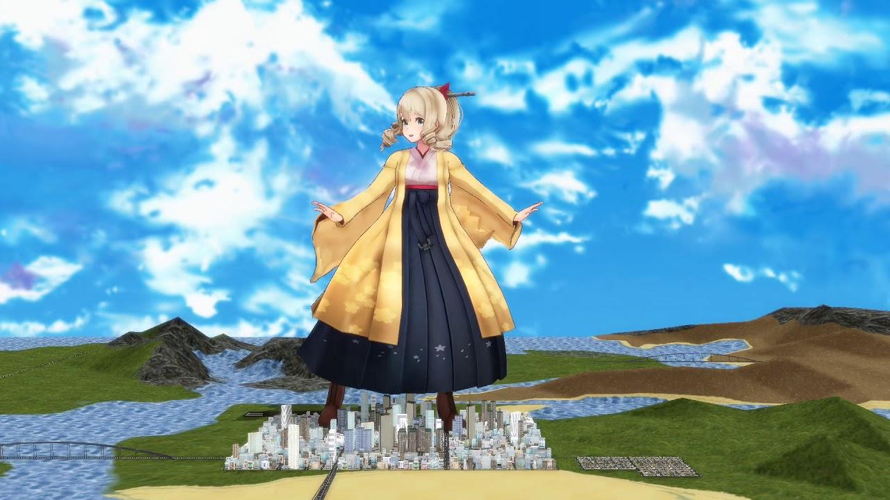 【MMD Giantess】巨大旗風にDECORATORを踊ってもらった【巨大娘】