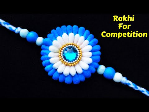 How to make Rakhi at home with cotton bud | Easy rakhi making for competition 2019