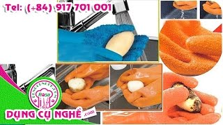 Găng tay silicon rửa sạch rau củ quả cực nhanh