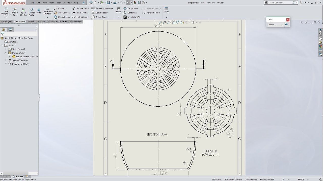 solidworks 2018 simple electric motor fan cover drawing [ 1280 x 720 Pixel ]