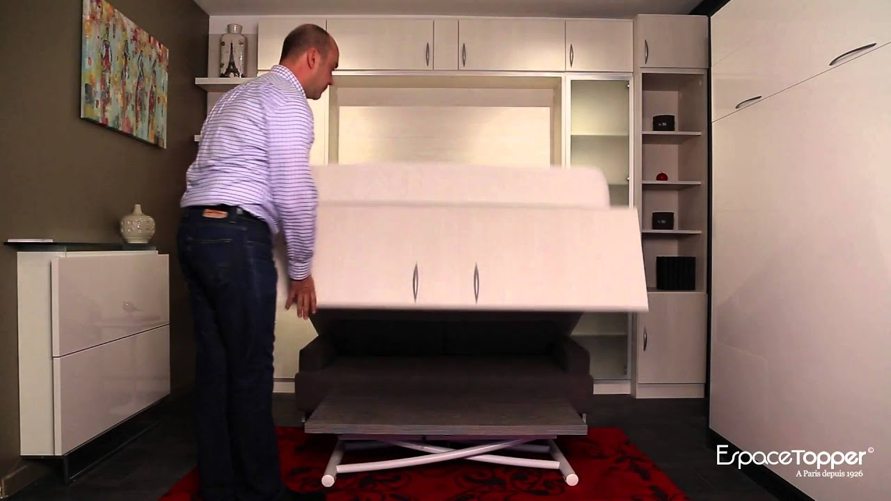 espace topper lit relevable avec canap youtube. Black Bedroom Furniture Sets. Home Design Ideas